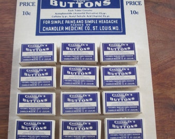 Vintage Chandlers Buttons Story Display Advertising