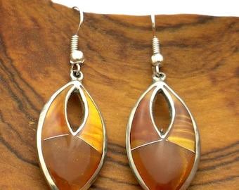 Golden Open Ellipse Stone Earrings