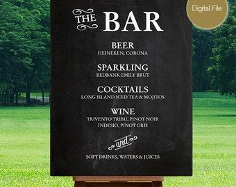 Wedding Chalkboard Drink Menu (Printable)
