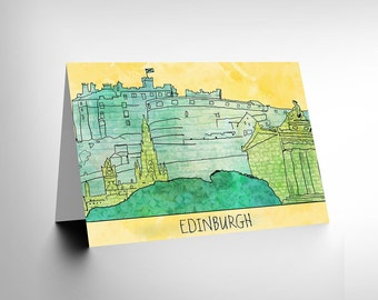 Edinburgh Card - Drawing Illustration Edinburgh Castle Scotland Blank Greetings Card CL117