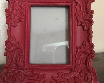 Baroque 4x6 picture frame, painted rustic  red, antiqued with brown wax
