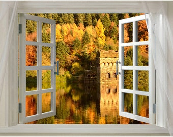 Window Into Lovely Autumn Season On A Lake Scenic Poster 24x36 Hot New!