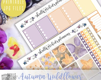 Autumn Wildflower Full Weekly Kit - Printable Stickers for HAPPY PLANNER