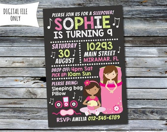 Sleepover Invitation / Slumber Party Birthday Invitation (Personalized) Digital Printable File