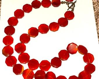Long Orange Statement Necklace
