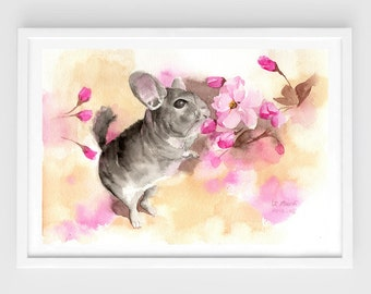 """Original watercolor,chinchilla painting,lovely,pet painting,7""""x10"""",home decor"""