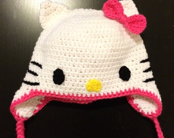 Crochet hat, Cat hat, Kitty hat, Famous kitty hat, baby photo prop hat Halloween Christmas present costume