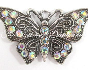 Clear AB Rhinestone Butterfly pendant (P4)