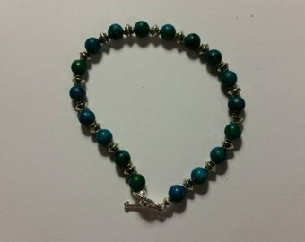 Wooden Green Blue and Silver bracelet