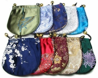 Round silk jewelry pouch, satin patterns gift bag, mix color favor drawstring gift pouch, wedding jewelry bag, size 11cm or 13cm, JB2020