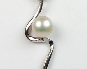 White pearl pendant, freshwater pearls, cultured real pearl pendant, 925 sterling silver pearl necklace for women, 7-8mm, F2055-WP