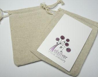 10 X 10x8mm linen drawstring jewellery bag | wedding favour bag | credit card size bag
