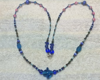 """Blue and Purple and Chrome Glass-Beaded - 28 1/2"""" Necklace Art Glass, OAK (one of a kind) Hand-created by Myself, SS/Wire"""