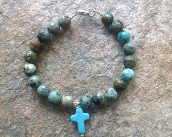 African Turquoise Cross Bracelet