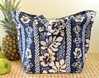 Hawaiian Print Tote Bag in Blue and White, Hawaiian Print Shopping Bag, Hawaii Bag with Hibiscus and Turtle Petroglyphs, Tropical Print Tote