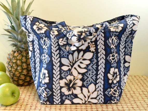 Hawaiian Print Tote Bag in Blue and White, Hawaiian Print Shopping Bag, Hawaii Bag with Hibiscus and Turtle Petroglyphs, Tropical Print Tote