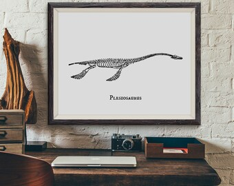 Dinosaur Print, Plesiosaurus Prehistoric Dinosaur Skeleton Fossil Bones Vintage Illustration, Paleontology, Boys Bedroom Art, Not Framed