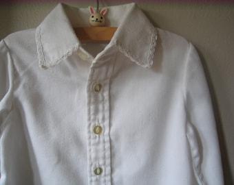 SALE Vintage Florence Eiseman Long Sleeve White Blouse Size 2T-3T -- Girls Vintage White Shirt -- Vintage Kids Clothes