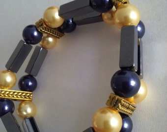 Double Bracelet Black and Gold