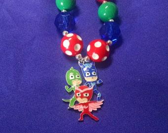 Bedtime Super Heros PJ Masks Disney Inspired Toddler Bubblegum Necklace.  Owlette Cat Boy Gecko PJ Masks Gumball Necklace