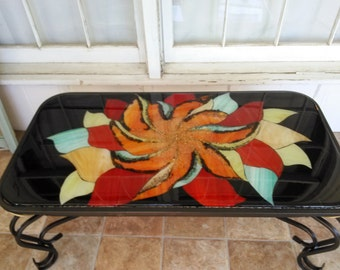 Items Similar To Wave Stained Glass Mosaic Coffee Table Surf Art On Etsy