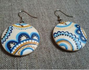Boho earrings Rustic bridal earrings Painted Wooden Earrings.Wood Jewelry. Folk Jewelry. Painting jewelry. Gift for her