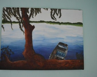 Docked Boat Painting