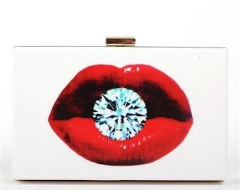 Red Diamond Lip Clutch Evening Bag