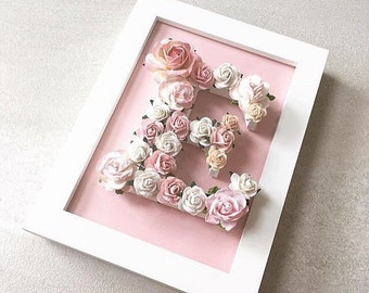 Custom made floral letter// babyshower gift // wedding gift // christening gift