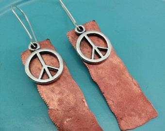 Peace Sign Earrings Reclaimed Copper.
