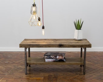 Matnaor Handmade Industrial Chic Reclaimed Wood And Steel Legs Coffee Table. Custom Made To Order.