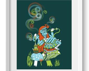 Hookah Smoking Caterpillar, Alice in Wonderland Art Print, original art