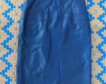 Vintage navy leather pencil skirt