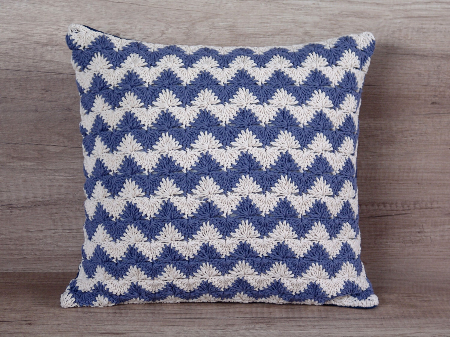 Throw Pillows With Covers : Crochet pillow navy throw pillow covers euro sham chevron