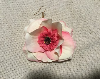 Fabric rose flower earrings