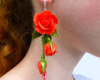 Red earrings Long earrings Flower earrings Red jewelry Red flower earrings Summer earrings Rose earrings Flowers jewelry Birthday gift