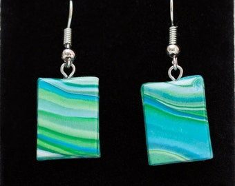 Blue and Green Swirl Polymer Clay Earrings