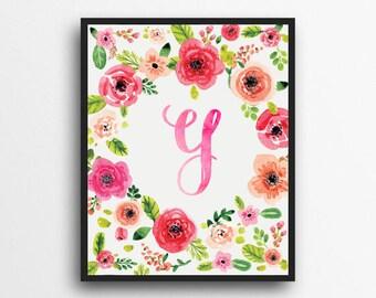 Monogram Letter Y Print | Floral Wreath Monogram | Initial Print | Watercolor Floral Print | Digital Download