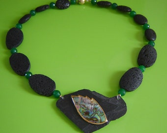 Designer necklace - lava with shale and mother of Pearl