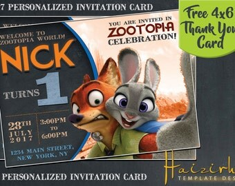 Zootopia Invitation, Zootopia Birthday Invitation, Zootopia Invitation Cards, Zootopia Birthday Invitation Cards, Zootopia Card Invites