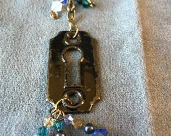 Antique Keyhole with Blue Swarovski Bead Necklace