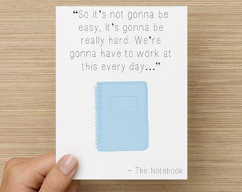 Greeting Card - The Notebook Card: I love you card, Love greeting card, BFF card, card for girlfriend, card for boyfriend, Valentine Card