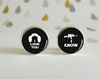 I Love You, I Know - Star Wars - Earrings in silver metal with glass cabochon - Special Gift - Wedding