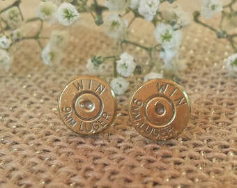 Original (No Gems) 9mm Winchester Bullet Stud Earrings