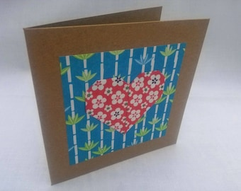 Heart Greetings Card in blue and red