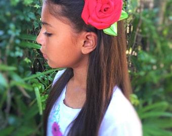 Red Hair Rose Girls Hair Flower, Hair Flowers, Hair Bows, Handmade Hair Bows, Hair Clips, Red Hair Flower, Pink Hair Clip