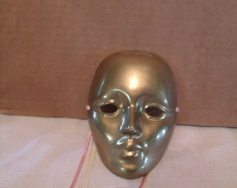 Brass mask, wall hanging decor, theater mask, (# 80/6)