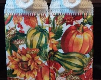 Sunflower and Gourd Hanging Dishtowel Set