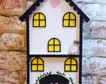 Handmade enchanted cottage style fairy house with personalised letter and fairy dust