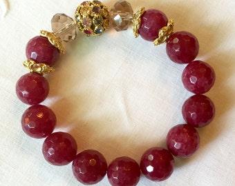 Faceted Ruby Jade Bead Bracelet